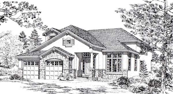 Bungalow , Mediterranean , Traditional House Plan 24267 with 4 Beds, 3 Baths Elevation