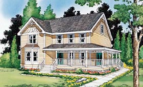 Country , Farmhouse , Victorian House Plan 24301 with 4 Beds, 3 Baths Elevation