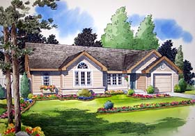 Traditional , Ranch House Plan 24302 with 3 Beds, 2 Baths, 1 Car Garage Elevation