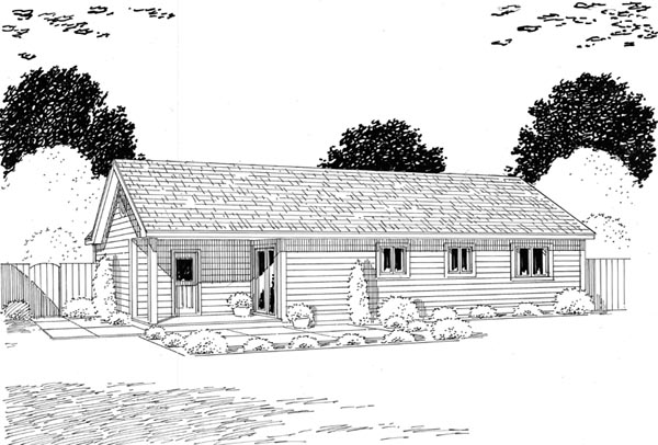Traditional , Ranch House Plan 24302 with 3 Beds, 2 Baths, 1 Car Garage Rear Elevation
