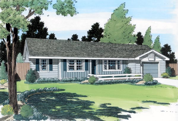 One-Story, Ranch, Traditional House Plan 24303 with 3 Beds, 2 Baths, 1 Car Garage Front Elevation