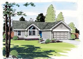 House Plan 24304 | Contemporary Ranch Traditional Style Plan with 993 Sq Ft, 3 Bedrooms, 2 Bathrooms, 2 Car Garage Elevation