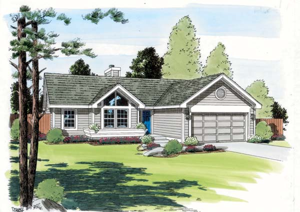 Contemporary Ranch Traditional House Plan 24304 Elevation