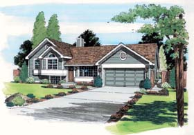 House Plan 24305 | Contemporary, Traditional Style House Plan with 984 Sq Ft, 3 Bed, 2 Bath, 2 Car Garage Elevation