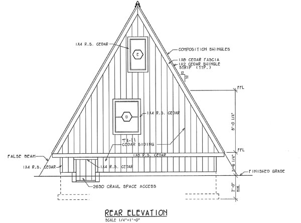 A-Frame Contemporary Retro Rear Elevation of Plan 24308