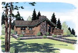 House Plan 24311 | Cabin Contemporary Style Plan with 1137 Sq Ft, 2 Bedrooms, 2 Bathrooms Elevation