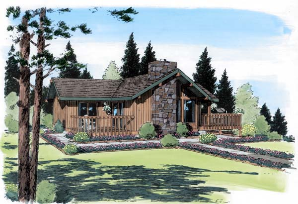 Cabin , Contemporary , Elevation of Plan 24311