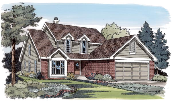 Traditional House Plan 24316 with 4 Beds, 3 Baths, 2 Car Garage Elevation