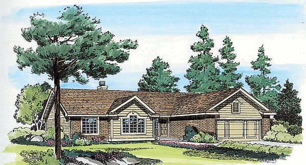 One-Story, Ranch, Traditional House Plan 24320 with 3 Beds , 2 Baths , 2 Car Garage Elevation