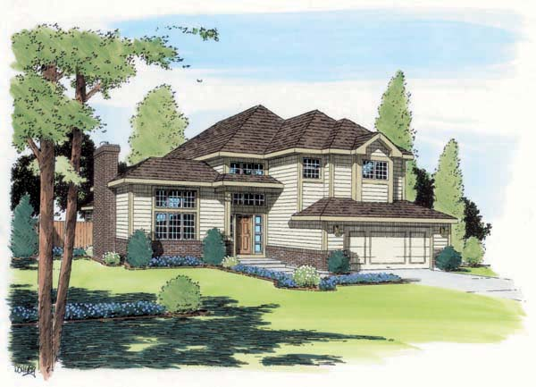 Contemporary European Traditional House Plan 24323 Elevation