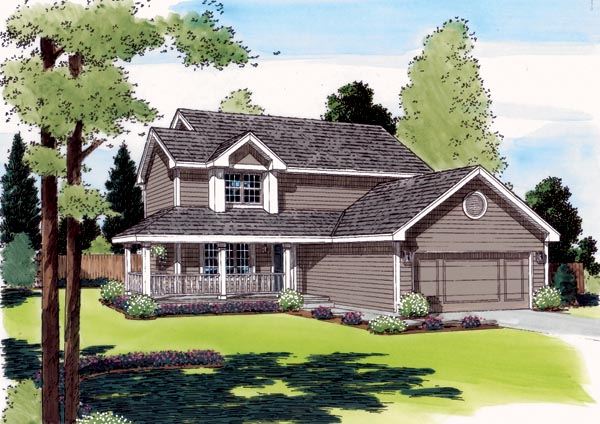 Country, Farmhouse, Traditional House Plan 24325 with 3 Beds, 3 Baths, 2 Car Garage Elevation