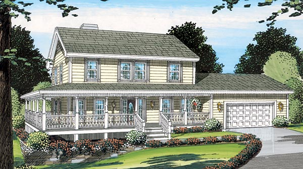 Country, Farmhouse, Traditional House Plan 24400 with 3 Beds, 3 Baths, 2 Car Garage Elevation