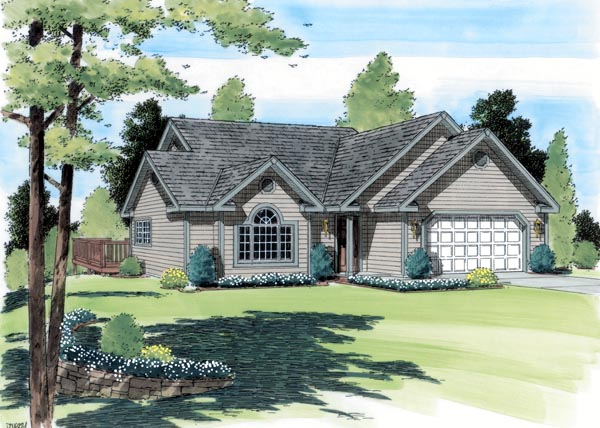 One-Story, Traditional House Plan 24402 with 3 Beds, 2 Baths, 2 Car Garage Elevation