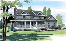 Country , Farmhouse , Southern , Traditional House Plan 24404 with 3 Beds, 3 Baths, 2 Car Garage Elevation