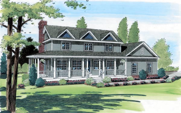 Country Farmhouse Southern Traditional House Plan 24404 Elevation