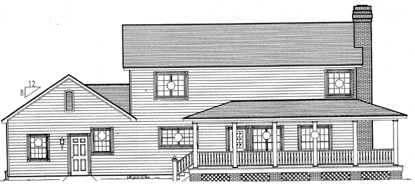 Country, Farmhouse, Southern, Traditional House Plan 24404 with 3 Beds, 3 Baths, 2 Car Garage Rear Elevation