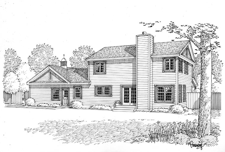 Country Farmhouse Traditional Rear Elevation of Plan 24405