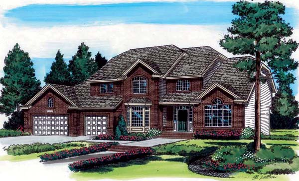 European, Traditional House Plan 24550 with 4 Beds, 3 Baths, 3 Car Garage Front Elevation