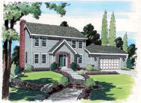 Colonial House Plan 24554 with 4 Beds, 3 Baths, 2 Car Garage Elevation