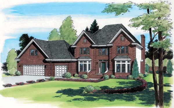 Contemporary, European, Traditional House Plan 24555 with 4 Beds, 3 Baths, 3 Car Garage Front Elevation