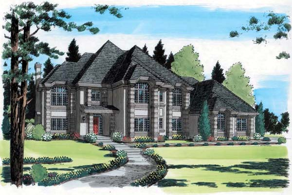 European Traditional House Plan 24556 Elevation