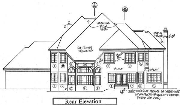 European Traditional House Plan 24556 Rear Elevation
