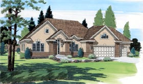 Traditional House Plan 24557 with 3 Beds, 3 Baths, 3 Car Garage Elevation
