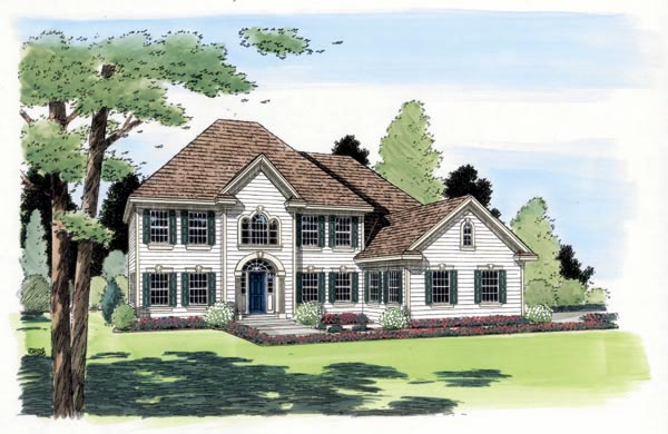 Colonial European Southern Traditional House Plan 24558 Elevation