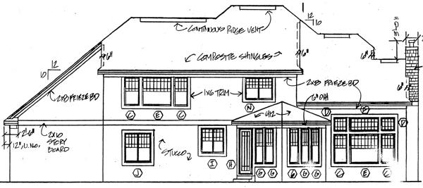 European House Plan 24559 Rear Elevation