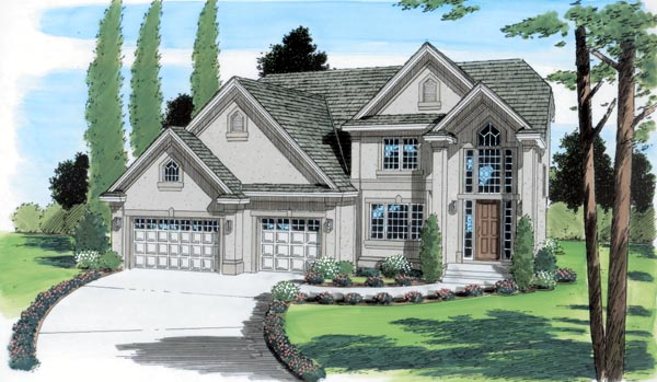 European , Traditional House Plan 24561 with 4 Beds, 3 Baths, 3 Car Garage Elevation