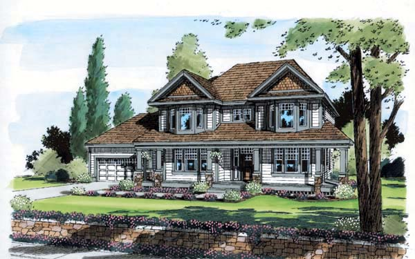 House Plan 24563 | Bungalow Country Farmhouse Traditional Style Plan with 2861 Sq Ft, 4 Bedrooms, 3 Bathrooms, 2 Car Garage Elevation