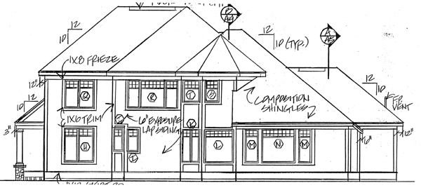 House Plan 24563 | Bungalow Country Farmhouse Traditional Style Plan with 2861 Sq Ft, 4 Bedrooms, 3 Bathrooms, 2 Car Garage Rear Elevation