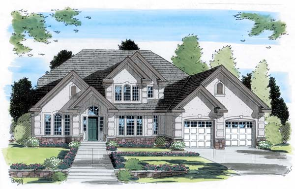 European, Traditional House Plan 24565 with 4 Beds, 3 Baths, 2 Car Garage Elevation