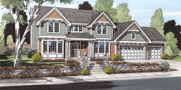 Traditional , European , Craftsman , Colonial House Plan 24567 with 3 Beds, 3 Baths, 3 Car Garage Elevation