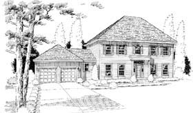 House Plan 24586   Colonial Southern Traditional Style Plan with 2434 Sq Ft, 4 Bedrooms, 3 Bathrooms, 2 Car Garage Elevation