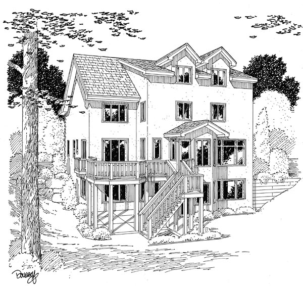 European Traditional House Plan 24589 Rear Elevation