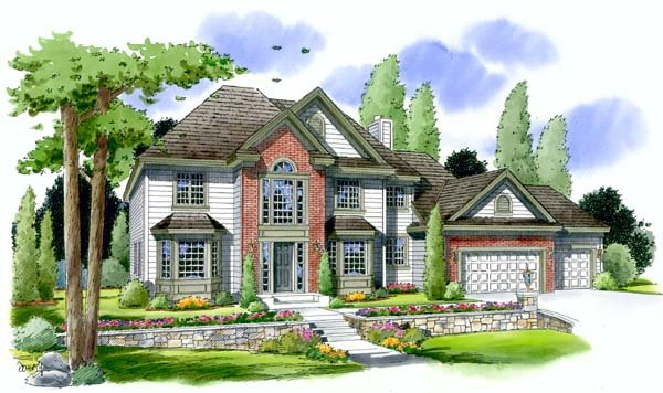 Colonial European Traditional House Plan 24594 Elevation