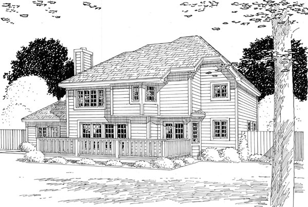 Colonial European Traditional House Plan 24594 Rear Elevation
