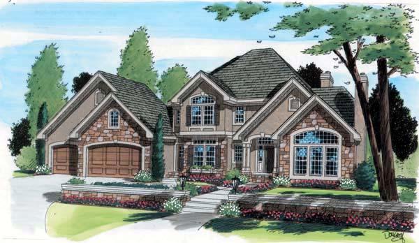 European Traditional House Plan 24596 Elevation
