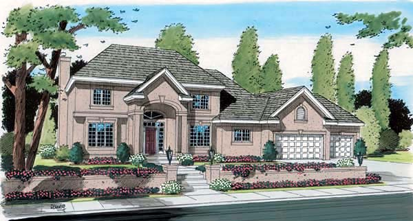 House Plan 24597 | Colonial European Traditional Style Plan with 2678 Sq Ft, 4 Bedrooms, 3 Bathrooms, 3 Car Garage Elevation