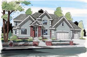 House Plan 24598 | European Traditional Style Plan with 2680 Sq Ft, 3 Bedrooms, 3 Bathrooms, 3 Car Garage Elevation
