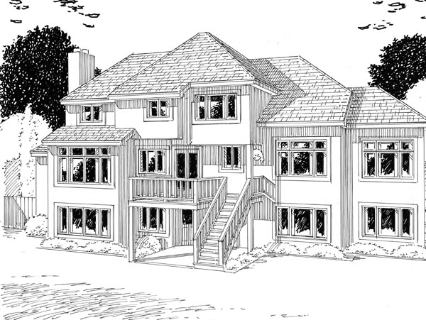 European Traditional House Plan 24599 Rear Elevation