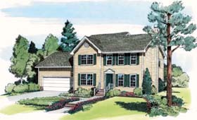 Colonial Country Farmhouse Traditional House Plan 24600 Elevation