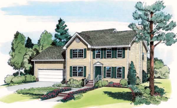 Colonial, Country, Farmhouse, Traditional House Plan 24600 with 4 Beds, 3 Baths, 2 Car Garage Elevation
