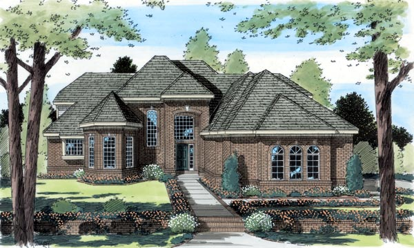 European Traditional House Plan 24613 Elevation