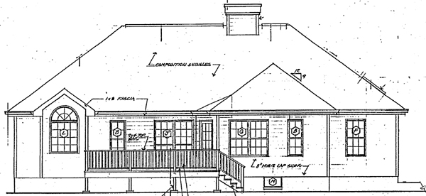 Country Southern Traditional Rear Elevation of Plan 24651