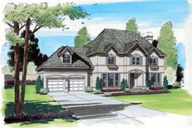 House Plan 24652 | Colonial European Traditional Style Plan with 3261 Sq Ft, 3 Bedrooms, 4 Bathrooms, 2 Car Garage Elevation