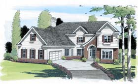 Traditional , European House Plan 24655 with 4 Beds, 3 Baths, 2 Car Garage Elevation