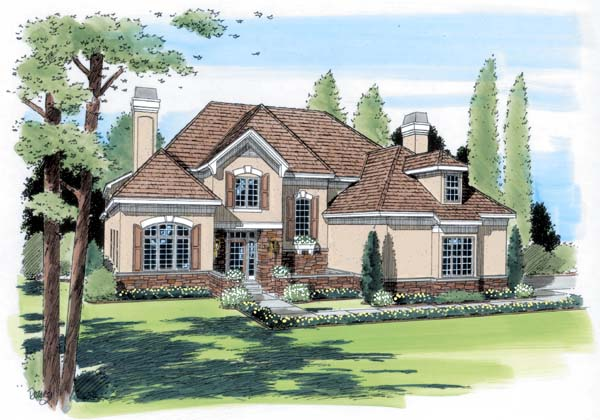 European Traditional House Plan 24656 Elevation