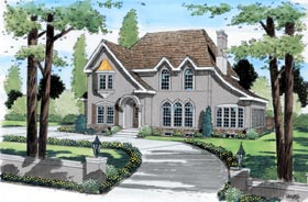 House Plan 24657 | European Style Plan with 2893 Sq Ft, 4 Bedrooms, 4 Bathrooms, 2 Car Garage Elevation
